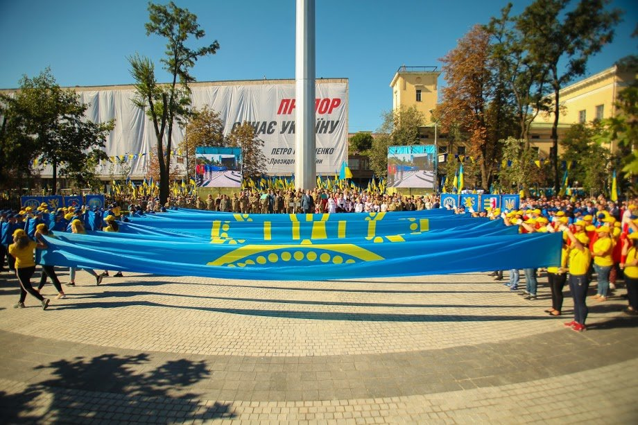 У Дніпрі президент Порошенко підняв рекордний прапор України, фото-3